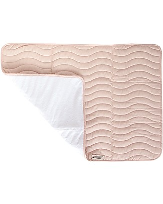 Nobodinoz Quilted Portable Changing Pad Marbella, Bloom Pink - Organic cotton and bamboo Travel Changing Mats