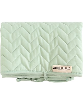 Nobodinoz Quilted Portable Changing Pad Marbella, Provence Green - Organic cotton and bamboo Travel Changing Mats