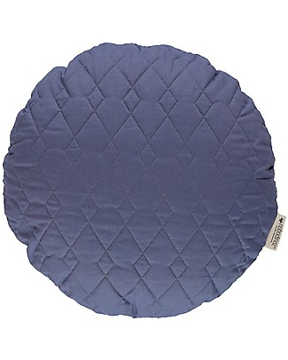 Nobodinoz Quilted Round Cushion Sitges, Aegean Blue - 45 cm -  Organic cotton null