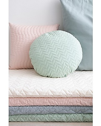 Nobodinoz Quilted Round Cushion Sitges, Provence Green - 45 cm -  Organic cotton Cushions