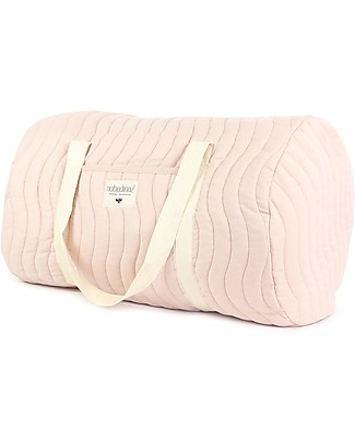 Nobodinoz Quilted Weekend Bag Los Angeles, Bloom Pink - Organic cotton Diaper Changing Bags & Accessories