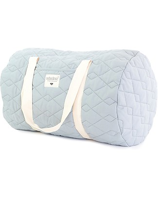 Nobodinoz Quilted Weekend Bag Los Angeles, Riviera Blue - Organic cotton Diaper Changing Bags & Accessories