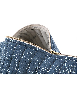 Nobodinoz Quilted Weekend Bag New York, Gold Bubble/Night Blue - Organic cotton Diaper Changing Bags & Accessories