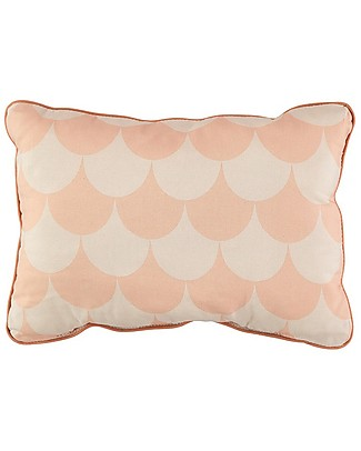 Nobodinoz Rectangular Cushion Jack, Pink Scales - 34x23 cm - 100% organic cotton Cushions