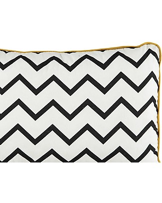 Nobodinoz Rectangular Cushion Jack, Zig Zag Black - 34x23 cm - 100% organic cotton Cushions