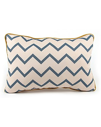 Nobodinoz Rectangular Cushion Jack, Zig Zag Blue - 34x23 cm - 100% organic cotton  Cushions