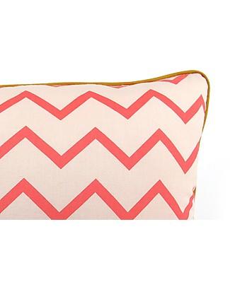 Nobodinoz Rectangular Cushion Jack, Zig Zag Pink - 34x23 cm - 100% organic cotton Cushions
