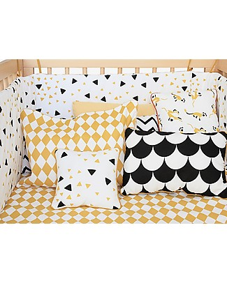 Nobodinoz Rectangular Cushion Neptune, Black Scales - 40x60 cm - 100% organic cotton Cushions