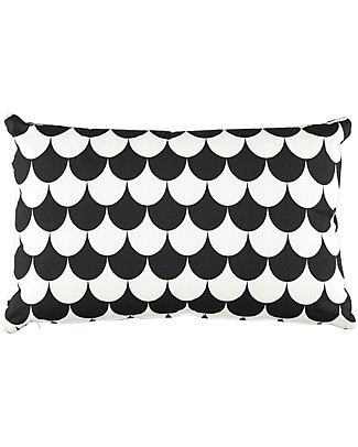 Nobodinoz Rectangular Cushion Neptune, Black Scales - 40x60 cm - 100% organic cotton null