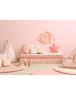 Nobodinoz Rectangular Cushion Neptune, Pink Diamonds - 40x60 cm - 100% organic cotton Cushions