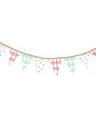 Nobodinoz Rio Garland, Diamonds - 221 cm - Organic cotton Room Decorations