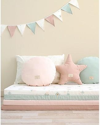 Nobodinoz Saint Barth Mattress and Playmat, White Bubble/Aqua - 120x60x4 cm - Organic cotton Playmats