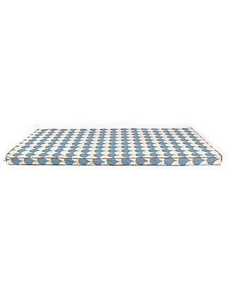 Nobodinoz Saint Tropez Mattress and Playmat, Blue Scales - 120x60x4 cm - Organic cotton Mattresses