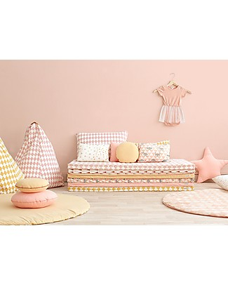 Nobodinoz Saint Tropez Mattress and Playmat, Pink Diamonds - 120x60x4 cm - Organic cotton Mattresses