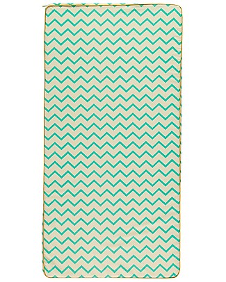 Nobodinoz Saint Tropez Mattress and Playmat, Zig Zag Green - Organic cotton Mattresses