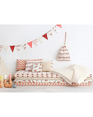 Nobodinoz Saint Tropez Mattress and Playmat, Zig Zag Pink - Organic cotton Mattresses