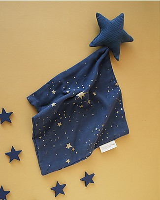 Nobodinoz Star Doudou, Gold Stella/Night Blue - 30x30 cm - Organic cotton Doudou & Comforters