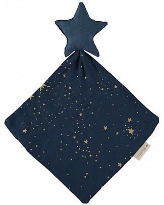 Nobodinoz Star Doudou, Gold Stella/Night Blue - 30x30 cm - Organic cotton Doudou & Comforters