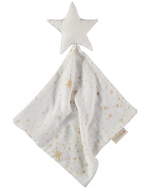 Nobodinoz Star Doudou, Gold Stella/White - 30x30 cm - Organic cotton Doudou & Comforters