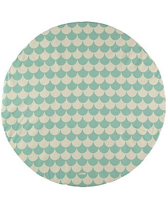 Nobodinoz Tappeto Rotondo Apache Small, Green Scales - Organic cotton Blankets