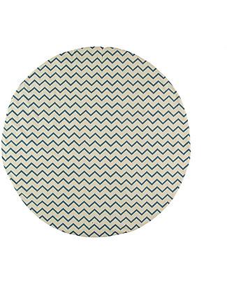 Nobodinoz Tappeto Rotondo Apache Small, Zig Zag Blue - Organic cotton Blankets