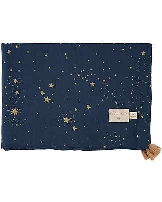 Nobodinoz Treasure Summer Blanket 70x100 cm, Gold Stella/Night Blue  - Organic cotton Blankets