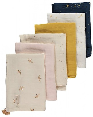 Nobodinoz Treasure Summer Blanket 70x100 cm, Gold Stella/White  - Organic cotton Blankets