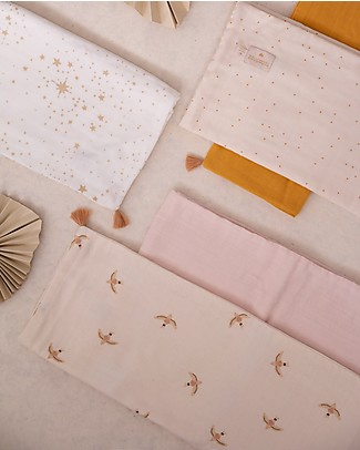 Nobodinoz Treasure Summer Blanket 70x100 cm, Nude Haiku Birds/Natural  - Organic cotton Blankets