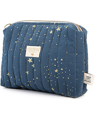 Nobodinoz Vanity Case, Gold Stella/Night Blue - 18x25x7 cm - Organic Cotton Makeup Bags & Pouches