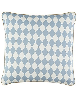 Nobodinoz Venus Square Cushion, Diamonds Blue - 38x38 cm - Organic cotton Cushions