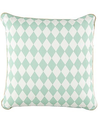 Nobodinoz Venus Square Cushion, Diamonds Green - 38x38 cm - Organic cotton Cushions