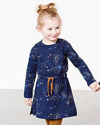 Noeser Else, Girls Dress Space, Midnight Blue - Elasticated organic cotton Dresses
