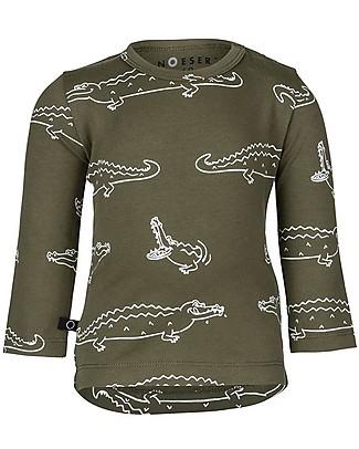 Noeser Henny, Long Sleeves Shirt Croco, Woody Green - Organic Cotton Long Sleeves Tops