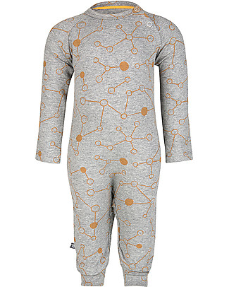 Noeser Jumpy Jumper Molecule, Grey Melange - Elasticated organic cotton Rompers