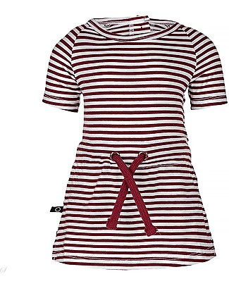 Noeser Pien, Red Stripes Girls Dress, Totem Red - Elasticated Organic Cotton Dresses