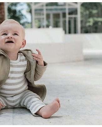 Noeser Short Sleeved Milan Romper, Sand/Stripes – 100% Organic Cotton Short Sleeves Bodies
