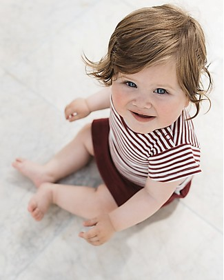Noeser Ted flared sleeves T-Shirt, Totem Red/Stripes - Organic Cotton T-Shirts And Vests