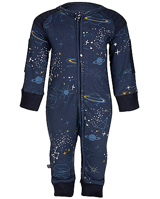 Noeser Zelis Jumper Space, Midnight Blue - Elasticated organic cotton fleece Rompers
