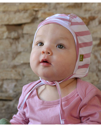 Nui Organics Baby Pilot Cap - Pink and White striped Organic Merino Wool (doesn't feel itchy!) Hats