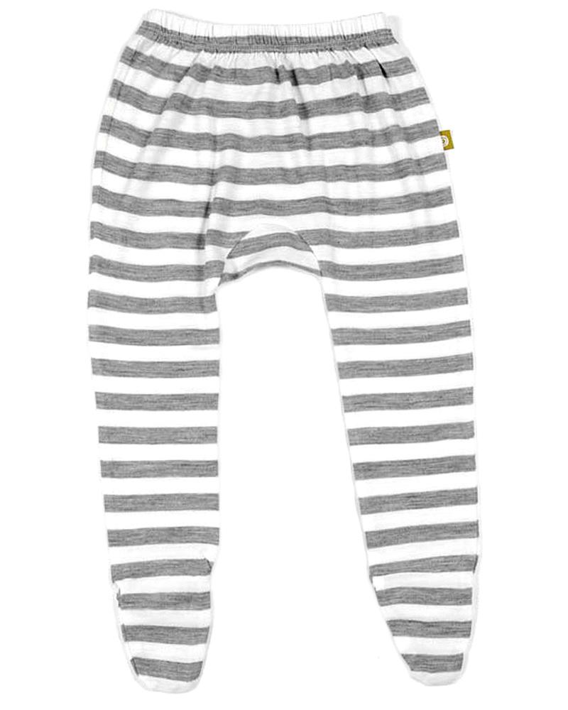 c9b0393365 Nui Organics Footed Pant - Silver Grey & White Striped Organic Merino Wool  Trousers