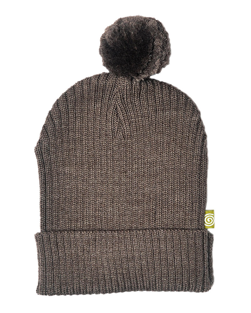 Nui Organics Hat with Pompom - Cocoa Brown - Organic Merino Wool (non-itchy 2201660c628