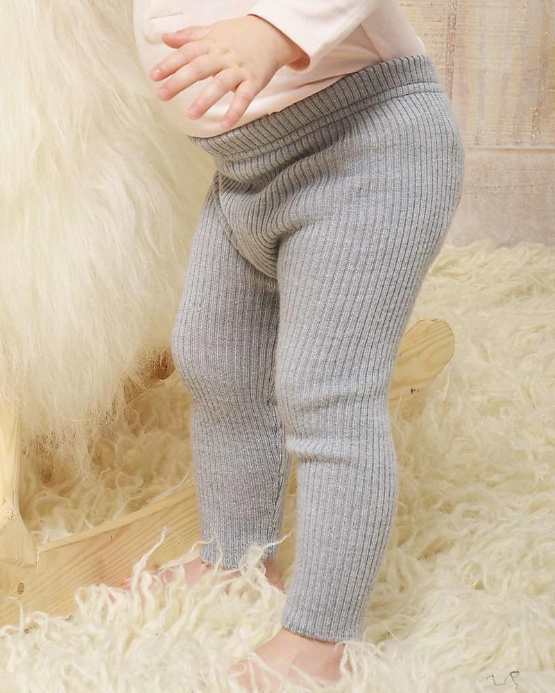 Nui Organics Knit Leggings Silver Organic Merino Wool Warm But Non Itchy Unisex Bambini