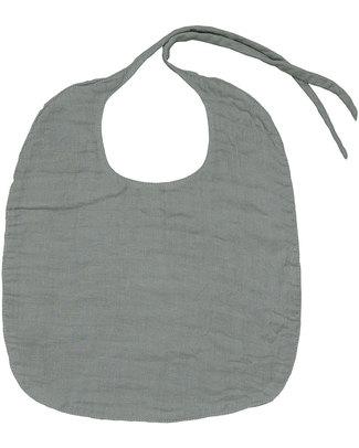 Numero 74 Baby Bib Round Silver Grey - Double Cotton Muslin Snap Bibs