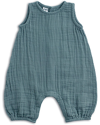 Numero 74 Baby Combi One Piece, Ice Blue - Cotton Muslin Short Rompers