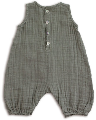 Numero 74 Baby Combi One Piece Silver Grey - Cotton Muslin Short Rompers
