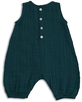 Numero 74 Baby Combi One Piece Teal Blue - Cotton Muslin Short Rompers