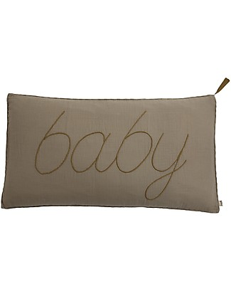 Numero 74 Baby Cushion 30x40 cm - Beige with Gold Embroidery  Pillows