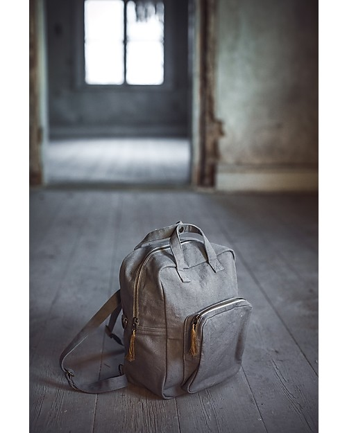 Numero 74 Backpack, Stone Grey - 100% Organic cotton Small Backpacks