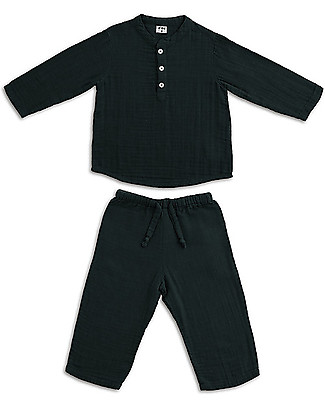 Numero 74 Dan Shirt & Pants Suit, Dark Grey - 100% cotton (3/4 years) Rompers