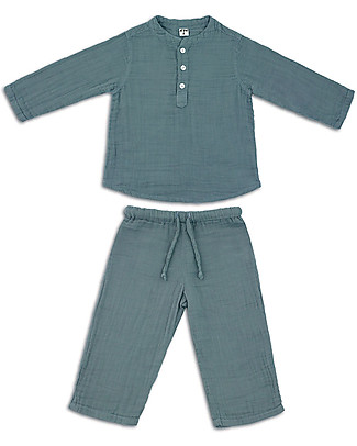 Numero 74 Dan Shirt & Pants Suit, Ice Blue - 100% cotton (1/4 years) Rompers